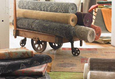 A collection of various rugs.